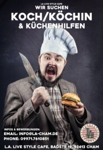 Screaming cook in hat holding knife and hamburger at dark background